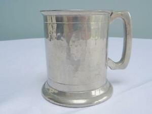 Vintage Pewter Tankard English  Hand Hammered Sheffield Made Half Pint Display