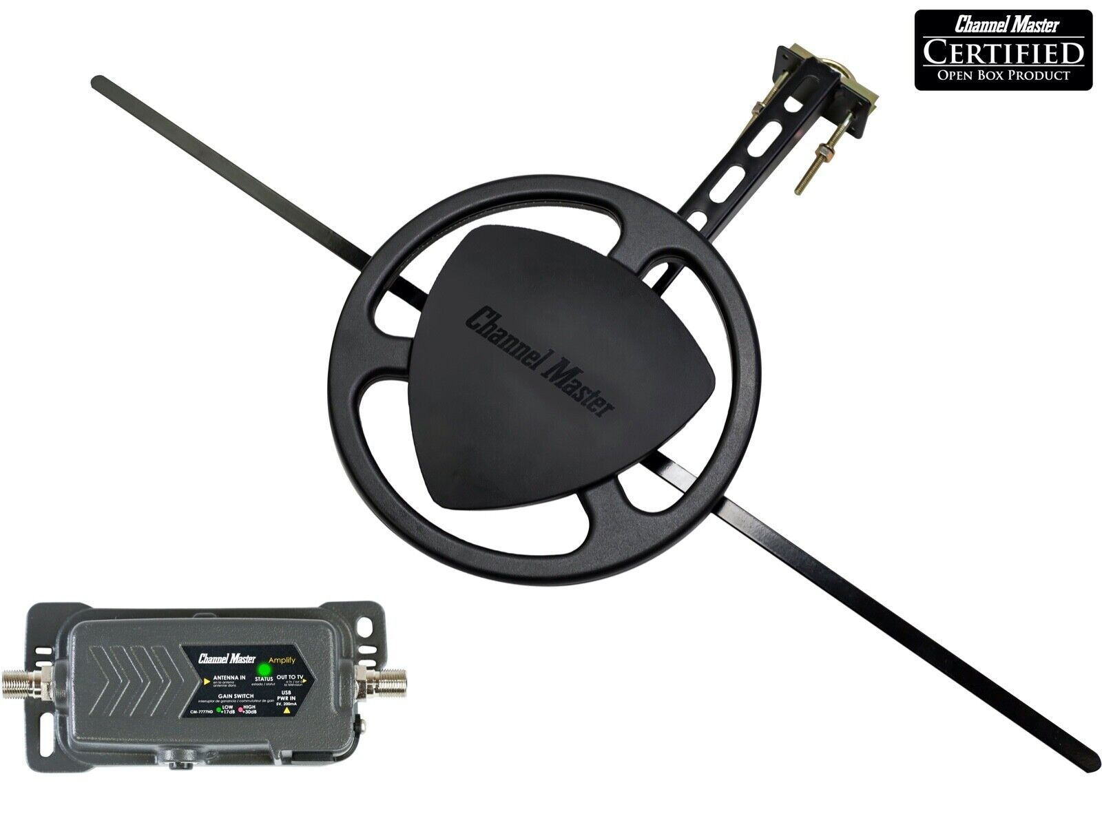 Channel Master Omnidirectional Outdoor TV Antenna Adjustable Preamplifier Bundle. Available Now for 119.00