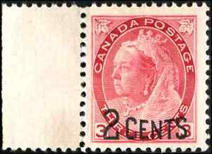 Canada-88-mint-VF-OG-NH-1899-Queen-Victoria-2c-3c-carmine-Numeral-Provisional
