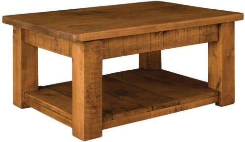 """/""""any size made/"""" SOLID WOOD CHUNKY RUSTIC PLANK PINE COFFEE TABLE WITH SHELF"""