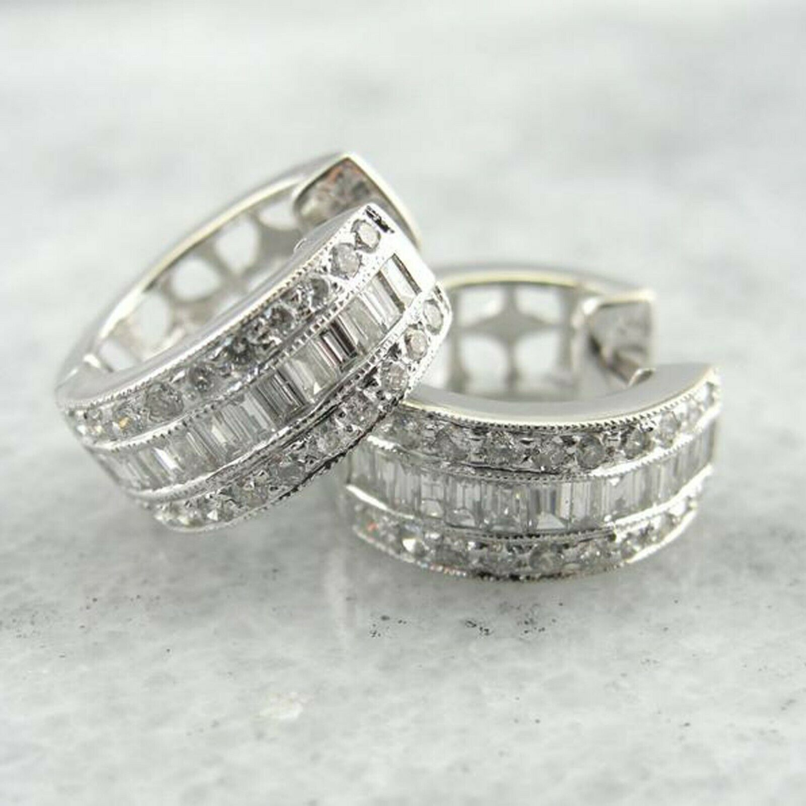 0.91 CT Round & Bgauette Cut Diamond 14K White gold Over Mini Hoop Earrings