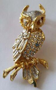 Vintage Rhinestone Sphinx Diamante Gold Plated Owl Brooch Silver - Ponciau, United Kingdom - Vintage Rhinestone Sphinx Diamante Gold Plated Owl Brooch Silver - Ponciau, United Kingdom