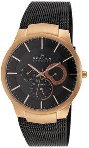 Skagen-Men-039-s-Analog-Rose-Gold-Black-Mesh-Titanium-Watch-809XLTRB