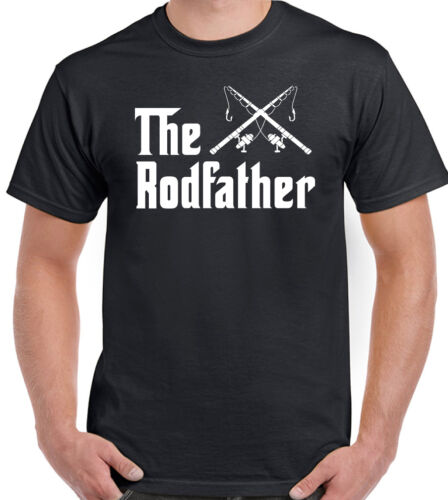 Mens Funny Fishing T-Shirt Rod Father Fathers Day Dad Fish Reel The Rodfather