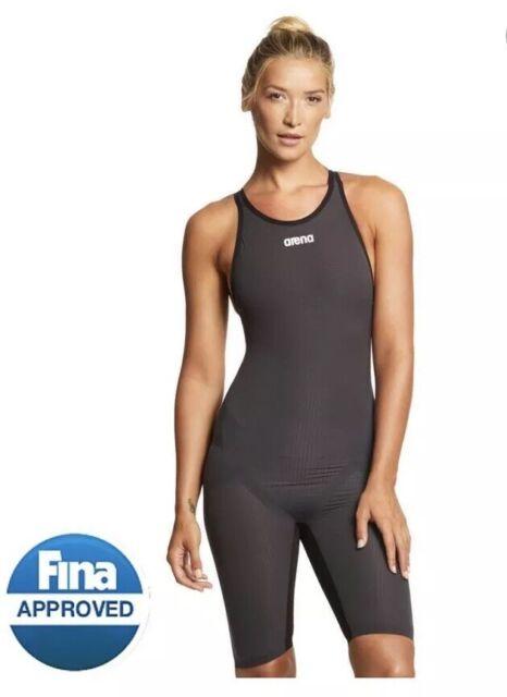 Dark Grey ARENA Womens Powerskin Carbon Flex Vx Fbsl Open Back Racing Swimsuit 26