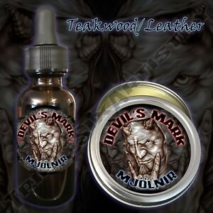 Devil-039-s-Mark-Mjolnir-Beard-Balm-Beard-Oil-Triple-Six-Artistry-Teakwood-Leather