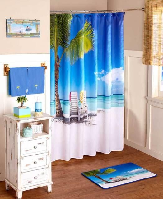 Tropical Paradise Seaside Beach Shower, Palm Tree Shower Curtains Bath Accessory Sets