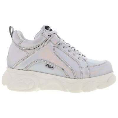 Buffalo Manchester Womens Silver Chunky Platform Trainers Shoes Size 4-6.5