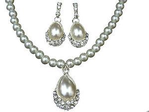 de-mariage-strass-amp-Blanc-Perles-Larme-Set-bijoux-Boucles-d-039-oreilles-collier