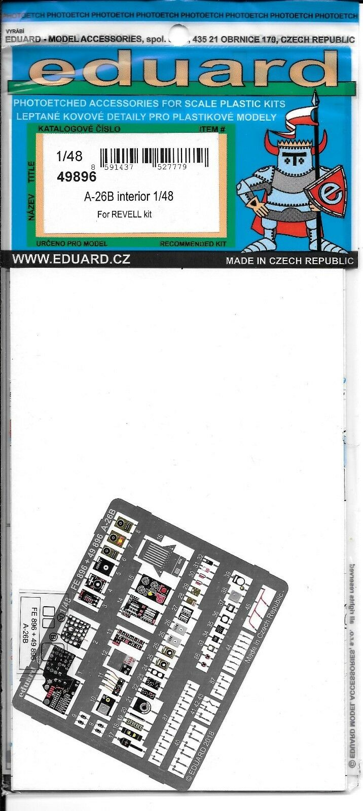Eduard A-26B Invader Interior Photo Etch Details 1 48 49 896 For Revell Kit ST