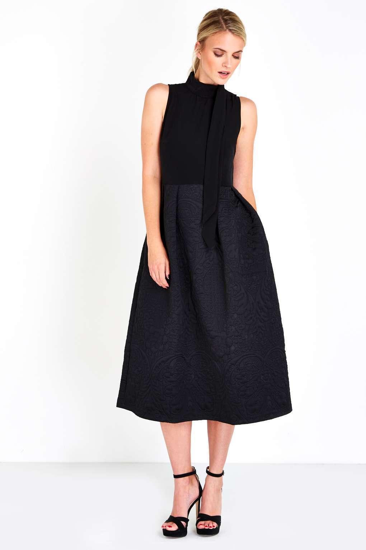 BNWT Closet Nero Collo Alto Pleat dress