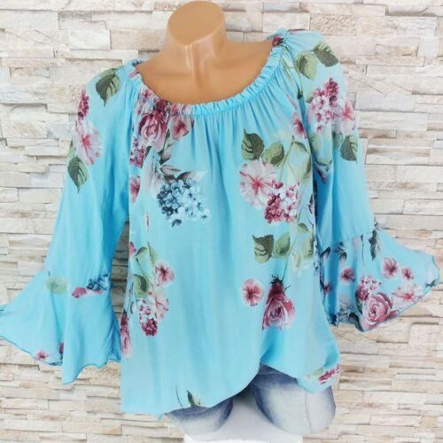 Dressara OFF SHOULDER Tunica Maglietta campane maniche fiori print Boho Hippy S-XL