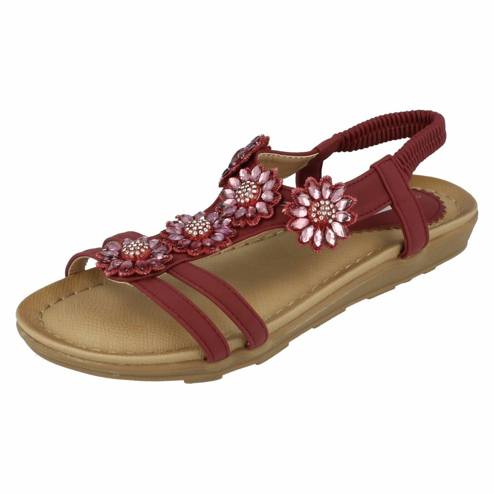 LADIES ANNE MICHELLE PURPLE SANDALS PINK SLINGBACK FLORAL JEWELLED SANDALS PURPLE SANTORINI d3a48b