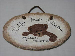 Teddy-Bear-Collector-Orphans-Welcome-Slate-Sign-Collection-Brown-Stuffed-Animals