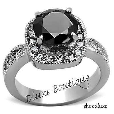 3.25 CT ROUND CUT BLACK CZ PAVE VINTAGE STAINLESS STEEL FASHION RING SIZE 5-10