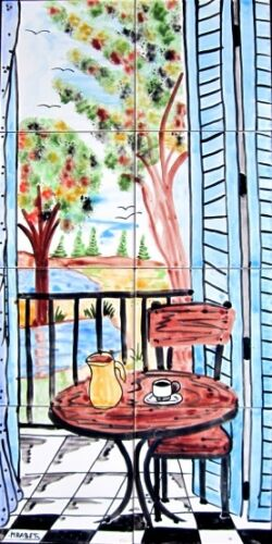 DECORATIVE CERAMIC TILES:MOSAIC PANEL HAND PAINTED KITCHEN PATIO ART 24in x 12in