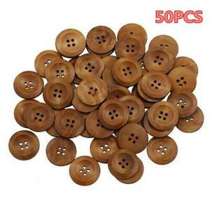 50PCS-Bulk-Lot-Brown-Wooden-Round-4-Hole-Flat-Buttons-Sewing-Coat-Craft-DIY-25MM