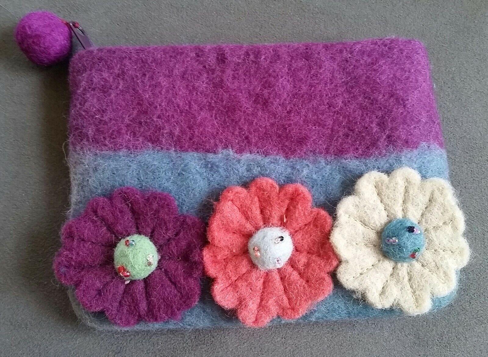 NWOT Rising Tide 100% Wool Boho Purple Blue Flowered Floral Felt Coin Purse