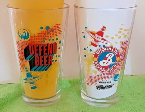 """Home Bar 2-2018 NY COMIC CON ~ Brooklyn /""""Defend/"""" Pint Glasses />Collector"""