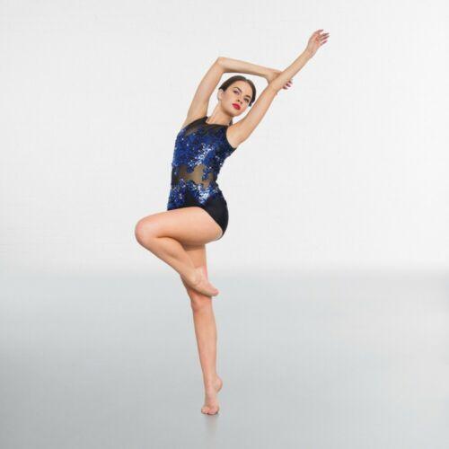 IN STOCK Blue Black Sequin Unitard Modern Tap Jazz Dance Costume All Sizes