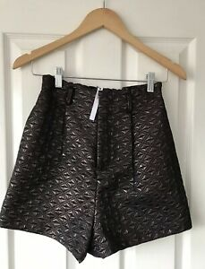 ASOS-METALLIC-COPPER-HIGH-WAISTED-QUILTED-SHORTS-UK-8-NEW-PARTY