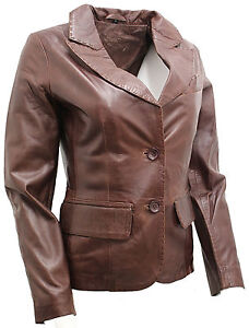Jacket Casual Damer Brown Leather Blazer PIFgw7Cq
