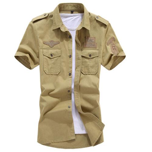 SD118 New Mens Fashion Casual Slim Fit Short Sleeves Shirts US Size XS-XL