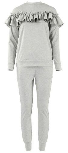 Ladies Kids 2Piece Frill Detail Top /& Jogger Long Sleeves Lounge Wear Suit Set