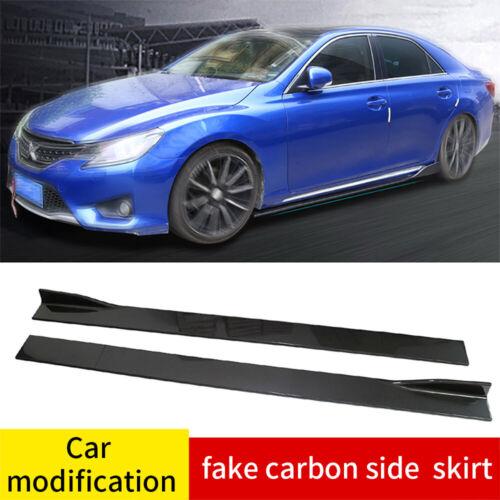 6Pcs 2.2M//86.6/'/' ABS Carbon Fiber Look Side Skirts Extension Splitters Universal