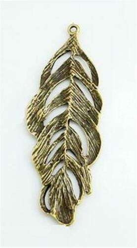 72mm P304...PACK OF 2 LARGE ANTIQUE BRONZE FEATHER PENDANT