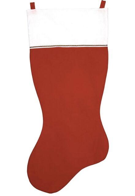 "Jumbo 35/"" CHRISTMAS STOCKING Red Felt with Green Felt Trim"