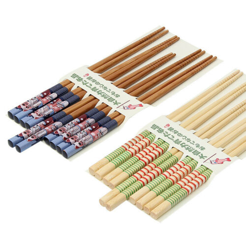 5 Pairs Bamboo Chopsticks Set Japanese Family Gift Home Bar Kitchen Supplies