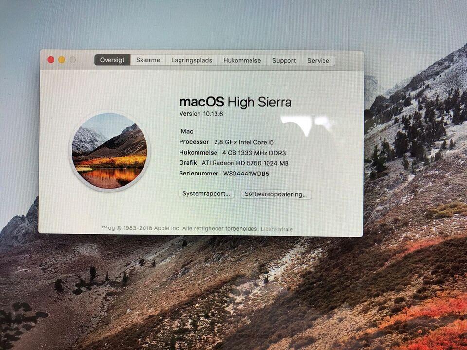 iMac, Imac core i5 2.8 Ghz 27 tommer HD årgang 2010, 2.8 GHz
