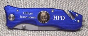 Personalized-Blue-Police-Law-Enforcement-Rescue-Knife-Solid-Blue
