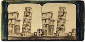 Italia Torre Di Pisa c1870 Foto Stereo Albumina Vintage