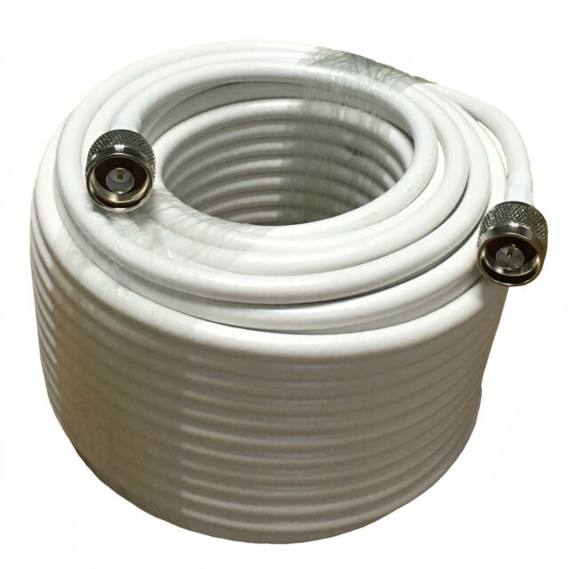 Coaxial Cable 50ft for Cell Phone Signal Booster Antenna Coax Cable Cord Extension Cable White 4D-FB OD6.5 50ohm High Speed Transmit,Both N Male Connector Ends w//Adapter CDMA GSM 3G 4G LTE FUSTAR