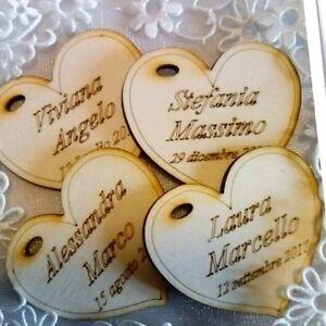 Bomboniere Matrimonio In Legno : Cuore calamita legno incisione nomi data cm matrimonio segnaposto