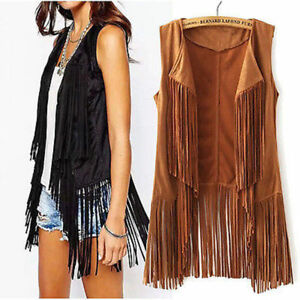 Women-039-s-Suede-Fringe-Vest-Shawl-Collar-Sleeveless-Outerwear-Hippie-Overcoat-UK