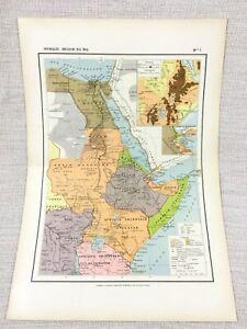 1888 Antik Map Of East Afrika Kolonien Reich Französisch 19th Jahrhundert