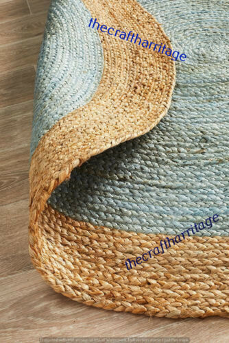 Natural Bohemian Braided Handmade Jute Round Floor Home Decor Carpet 6 Feet Rugs