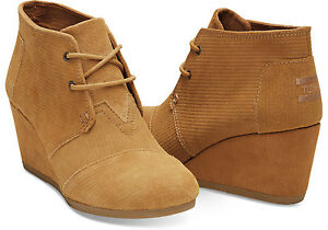 844c855bfda TOMS BROWN SUGAR SUEDE CORDUROY WOMEN S DESERT WEDGES SHOES. Style ...