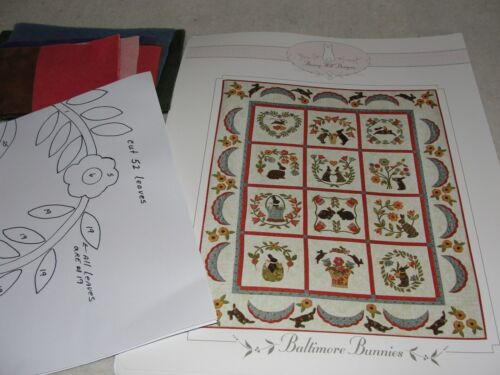 BALTIMORE BUNNIES Wool Applique Quilt Block of the Month Kit Bunny Hill Designs