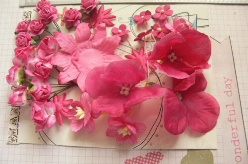 PAPER /& SILK Flowers 15-50mm HH6 7 Styles RASPBERRY ROSE 29 Flowers