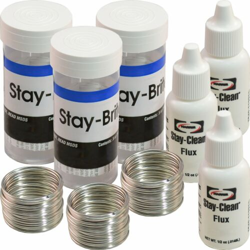 3 Rolls Stay Brite Silver Solder Lead Free Kit /& Flux Soldering Crafting Tools