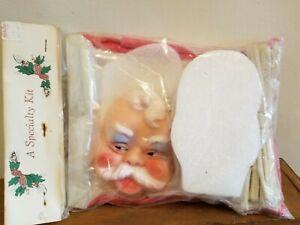Vintage Plastic Face Santa Claus Gift Basket Kit Christmas Candy Holder kit