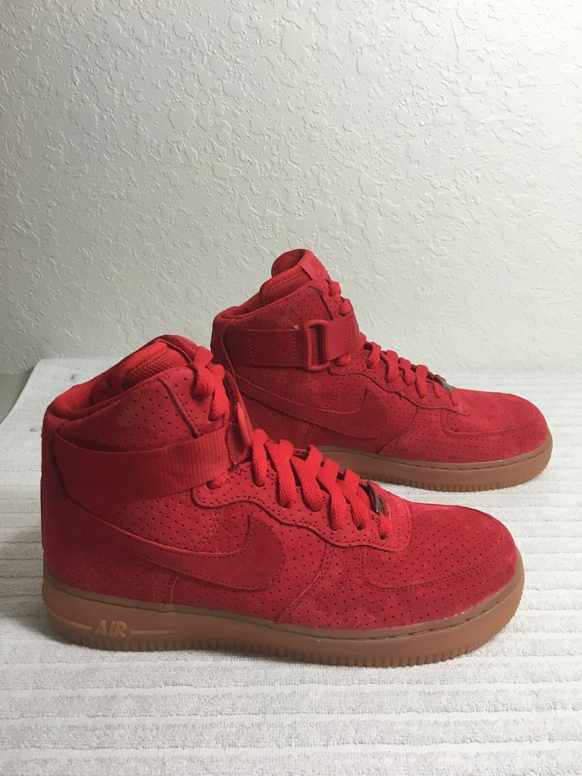 64c07bbcd9ea77 Womens Nike Air Force 1 Hi Suede Shoes Sz 8 University Red Gum ...