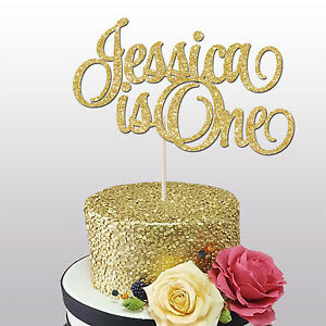 Image Is Loading CUSTOM NAME IS ONE GLITTER CAKE TOPPER 1ST