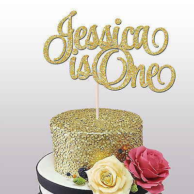 Pleasant Custom Name Is One Glitter Cake Topper 1St Birthday Cake Smash Personalised Birthday Cards Paralily Jamesorg