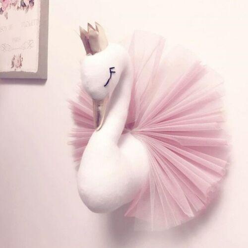 Animal Head Swan Flamingo Wall Hanging Mount Stuffed Plush Toy Princesse Poupée