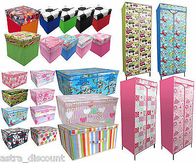 Childrens Bedroom Printed Storage Chest Box Wardrobe Trunk Toy Clothes Organiser